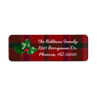 Red Plaid Christmas Address Labels