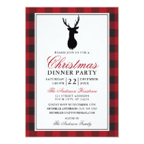 Red Plaid Christmas Dinner Party Rustic Invitation