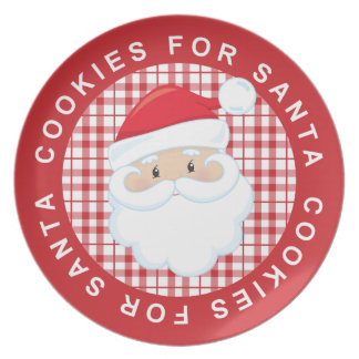 Red Plaid Cookies For Santa Plate
