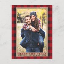 Red Plaid Couple Photo Merry Christmas Kraft Postcard