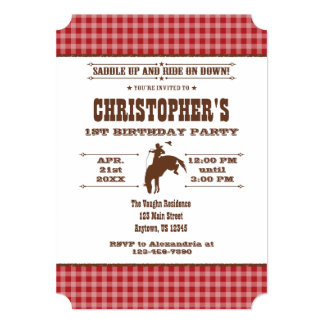 Red Plaid Cowboy Rodeo Birthday Invitation