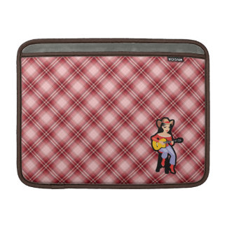 Red Plaid Cowgirl with Guitar MacBook Air Sleeve