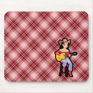 Red Plaid Cowgirl with Guitar Mouse Pad