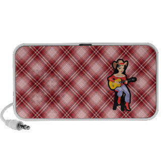 Red Plaid Cowgirl with Guitar Travel Speaker