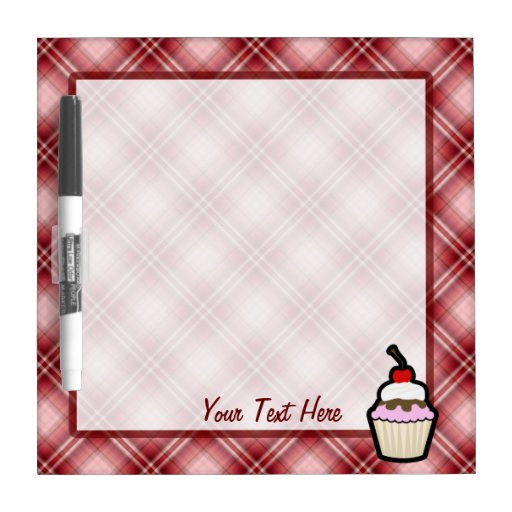 Red Plaid Cupcake Dry Erase Boards