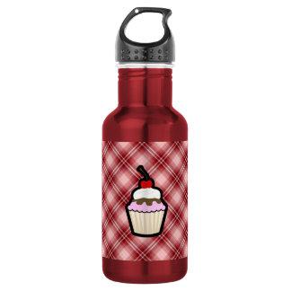Red Plaid Cupcake 18oz Water Bottle
