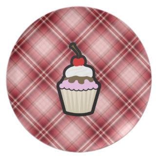 Red Plaid Cupcake Dinner Plates