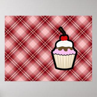 Red Plaid Cupcake Poster