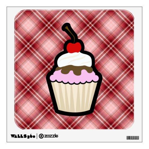 Red Plaid Cupcake Room Graphics