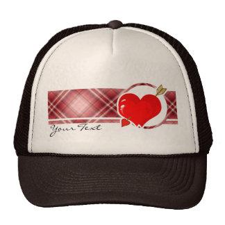 Red Plaid Cupid Heart & Arrow Trucker Hat