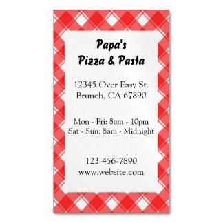 Red Plaid Custom Restaurant Ad Magnetic Card