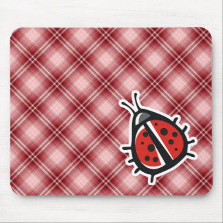 Red Plaid Cute Ladybug Mouse Pads