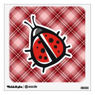 Red Plaid Cute Ladybug Room Graphic