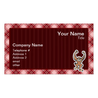 Red Plaid Cute Monkey Business Card