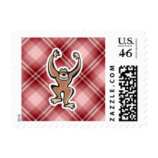 Red Plaid Cute Monkey Postage Stamps