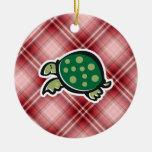 Red Plaid Cute Turtle Christmas Tree Ornaments