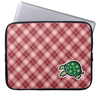 Red Plaid Cute Turtle Laptop Sleeve