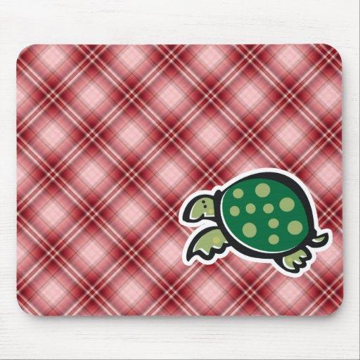 Red Plaid Cute Turtle Mousepad