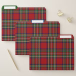 Red Plaid Design File Folders Set