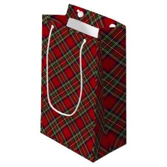 Red Plaid Design Gift Bag