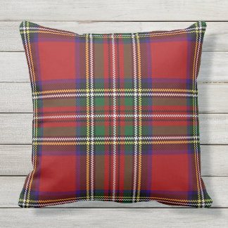 Red Plaid Design Outdoor Throw Pillow