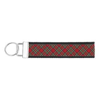 Red Plaid Design Wrist Key Chain