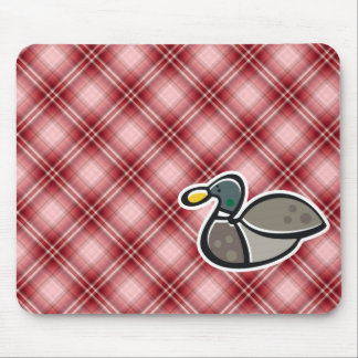 Red Plaid Duck Mousepads