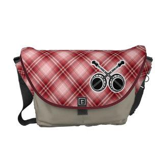 Red Plaid Dueling Banjos Messenger Bags