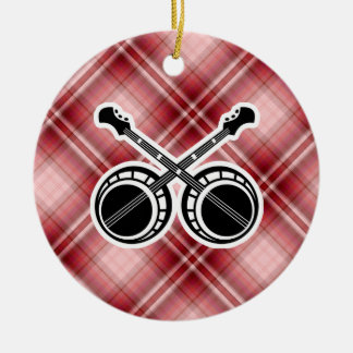 Red Plaid Dueling Banjos Ornament
