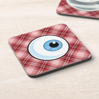 Red Plaid Eyeball Drink Coasters