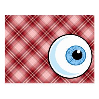 Red Plaid Eyeball Postcard