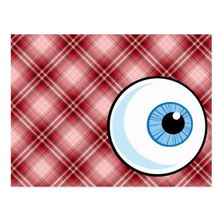 Red Plaid Eyeball Postcards