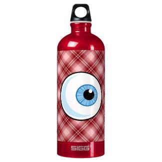 Red Plaid Eyeball Water Bottle
