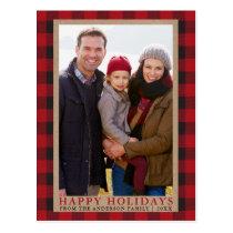 Red Plaid Family Photo Happy Holidays Kraft Postcard