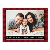Red Plaid Family Photo Happy Holidays Postcard