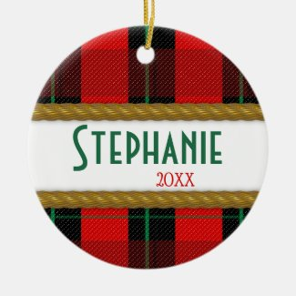 Red Plaid Faux Gold Rope Trim Christmas Ceramic Ornament