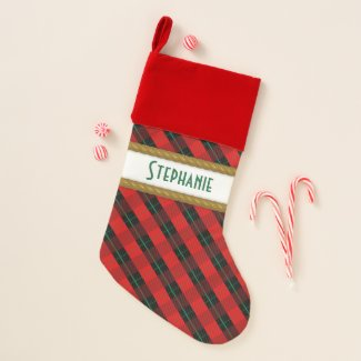 Red Plaid Faux Gold Rope Trim Christmas Christmas Stocking