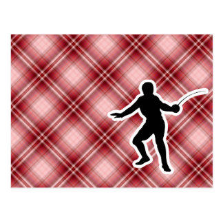 Red Plaid Fencing Post Cards
