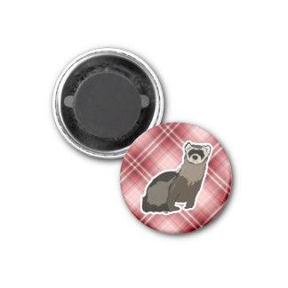 Red Plaid Ferret 1 Inch Round Magnet