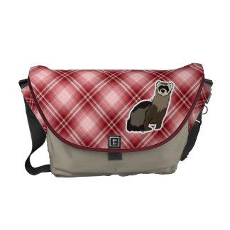 Red Plaid Ferret Courier Bag