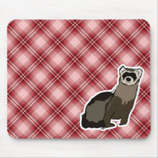 Red Plaid Ferret Mouse Pad