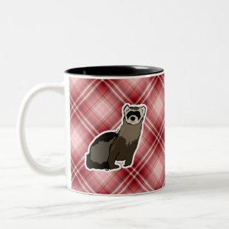 Red Plaid Ferret Two-Tone Coffee Mug