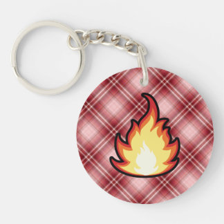 Red Plaid Fire Flame Double-Sided Round Acrylic Keychain
