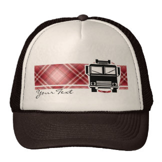Red Plaid Fire Truck Trucker Hats