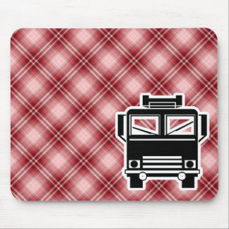 Red Plaid Fire Truck Mouse Pad