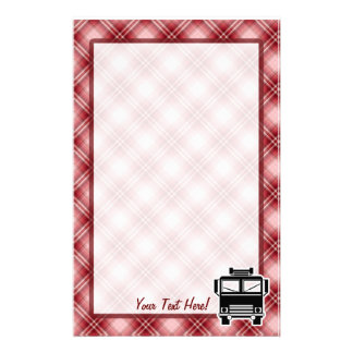 Red Plaid Fire Truck Personalized Stationery