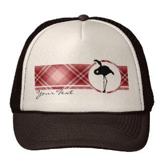 Red Plaid Flamingo Trucker Hat