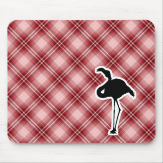 Red Plaid Flamingo Mouse Pad