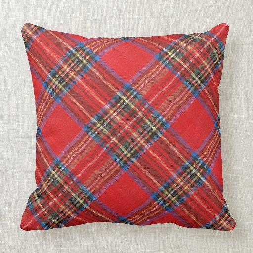 Red Plaid Decorative Pillows : Red Plaid Flannel Print Throw Pillows Zazzle