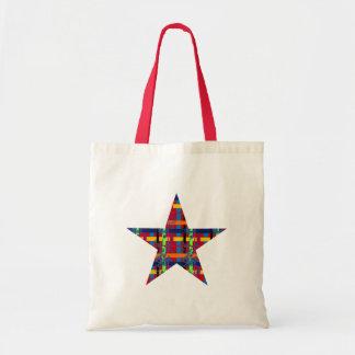 Red Plaid Flourish Star Budget Tote Bag